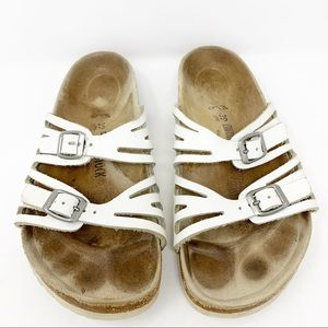 Birkenstock White Double Strap Leather Sandals